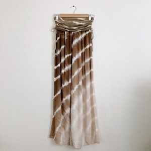 Hard Tail Brown Small Ruched Boho Pant Tie Dye